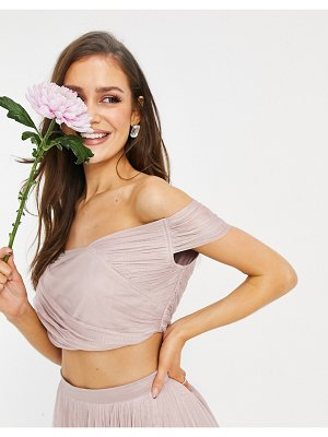 Anaya with love bridesmaid tulle off shoulder wrap detail matching crop top in pink
