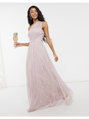 Anaya with love bridesmaid tulle one shoulder maxi dress in pink