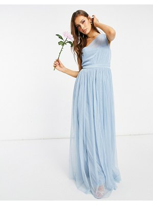 Anaya with love bridesmaid tulle one shoulder maxi dress in soft blue-blues