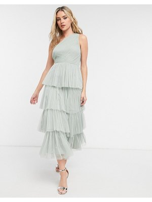 Anaya with love bridesmaid tulle one shoulder ruffle tiered midaxi dress in sage-green