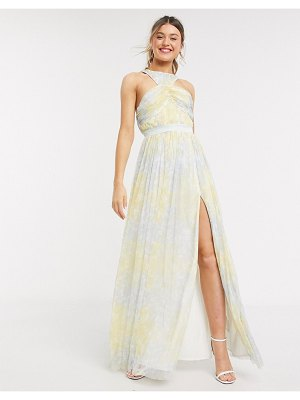 Anaya with love cross neck pleated all over floral maxi dress in multi print
