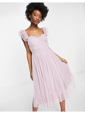 Anaya with love flutter sleeve midi dress in lilac tulle-purple