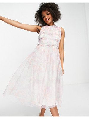 Anaya with love frill midi dress in white floral tulle-multi