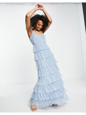 Anaya with love maxi dress with tiered skirt in pale blue tulle-blues