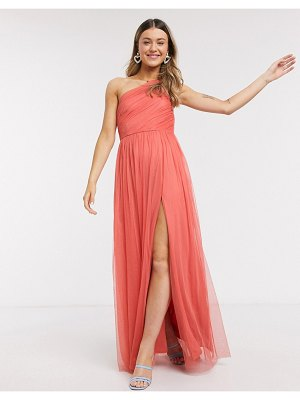 Anaya with love one shoulder ruched maxi dress in orange