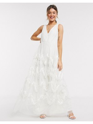 Anaya with love plunge front prom maxi dress with feather effect skirt in white