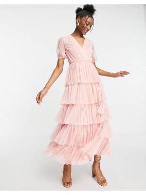 Anaya with love puff sleeve midaxi dress with tiered skirt in pink