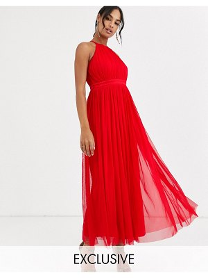 Anaya with love tulle halterneck midaxi dress with satin trim in red