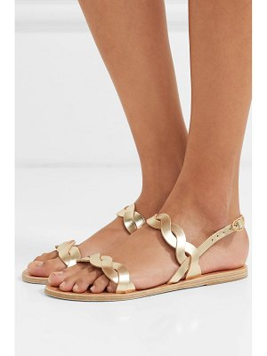 Ancient Greek Sandals plexi braided metallic leather sandals