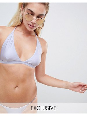 And CO exclusive metallic plunge bikini top in lavender