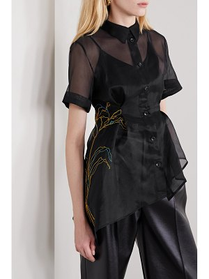 Andersson Bell asymmetric embroidered silk-organza shirt
