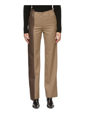 Andersson Bell beige wool quarter check mina trousers