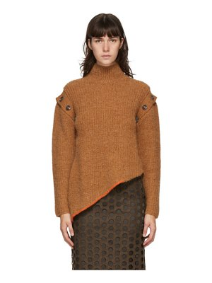Andersson Bell brown rib detachable sleeve turtleneck