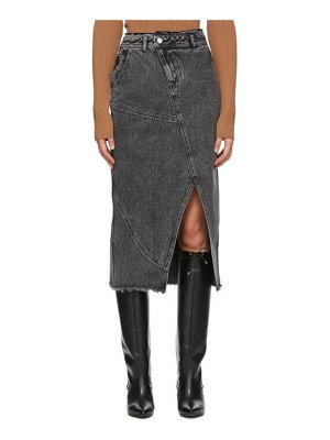 Andersson Bell denim over-dying pencil mid-length skirt