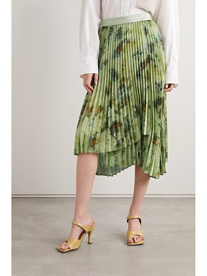Andersson Bell faux leather-trimmed pleated tie-dyed crepe de chine skirt