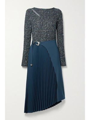 Andersson Bell galaxy cutout pleated twill and stretch-knit midi dress