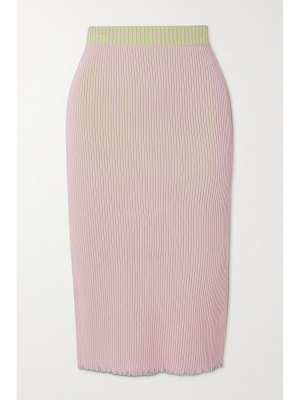 Andersson Bell harmony reversible two-tone ribbed-knit midi skirt