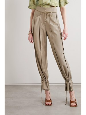 Andersson Bell katina tie-detailed pleated wool-blend tapered pants