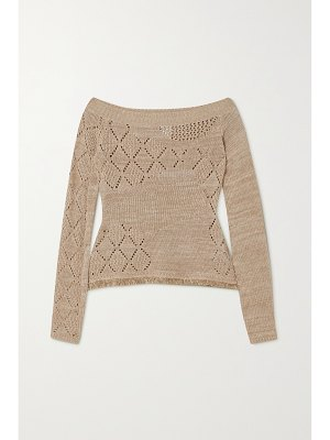 Andersson Bell matmata off-the-shoulder pointelle-knit linen and cotton-blend sweater