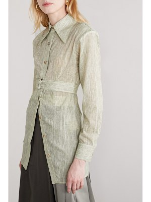 Andersson Bell messi belted printed cotton-blend voile shirt