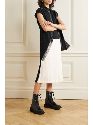 Andersson Bell paneled jersey and pleated twill midi dress