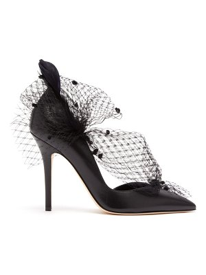 Andrea Mondin gloria feather, mesh and leather d'orsay pumps