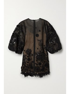 ANDREW GN appliquéd embellished silk-blend tulle mini dress
