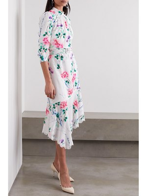ANDREW GN asymmetric lace-trimmed floral-print silk-crepe midi dress