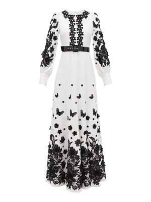 ANDREW GN balloon sleeve lace-appliquéd crepe gown