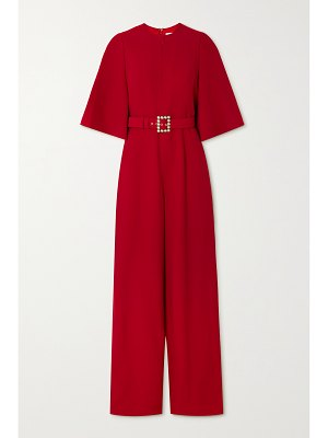 ANDREW GN belted cape-effect crepe jumpsuit