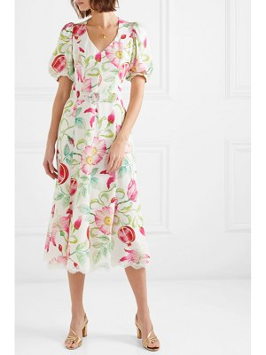 ANDREW GN belted floral-print silk-crepe midi dress