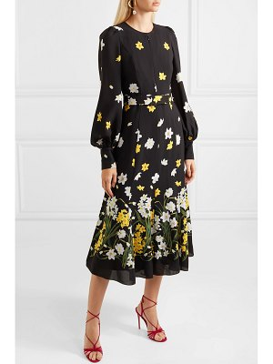 ANDREW GN belted floral-print silk midi dress