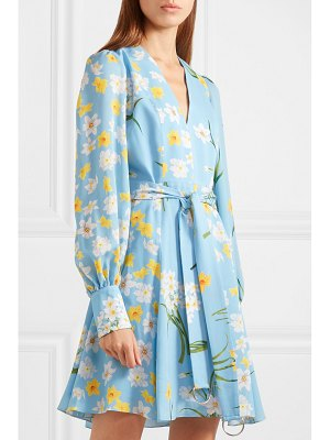 ANDREW GN belted floral-print silk mini dress