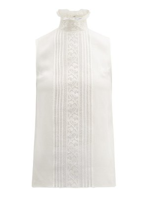 ANDREW GN chantilly lace and silk blend crepe top