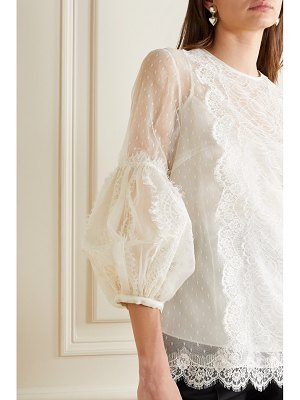 ANDREW GN chantilly lace-paneled silk-blend point d'esprit blouse - off-white