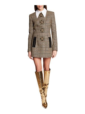 ANDREW GN Collared Plaid Tweed Mini Dress w/ Crystal-Button Detail