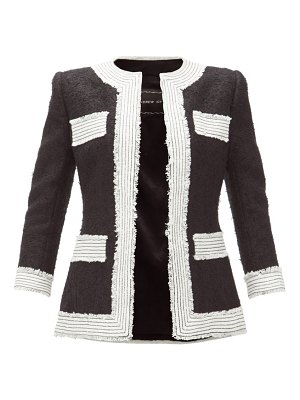 ANDREW GN collarless embroidered-trim bouclé blazer