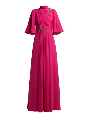 ANDREW GN Crsytal And Sequin Embroidered Pleated Silk Gown