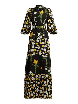ANDREW GN Daffodil Print Silk Gown