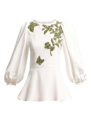 ANDREW GN Embellished Balloon Sleeve Crepe Blouse