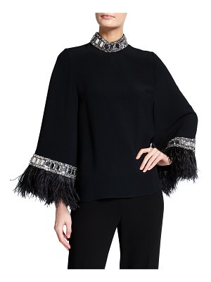 ANDREW GN Embellished High-Neck Feather Blouse