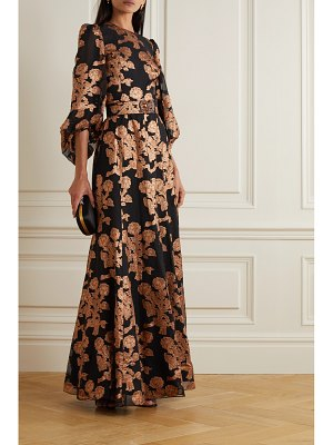 ANDREW GN embellished metallic fil coupé silk-blend gown
