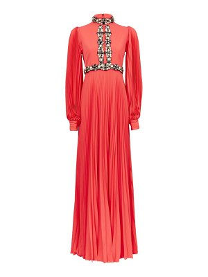 ANDREW GN embellished plissé-sleeve silk-blend gown