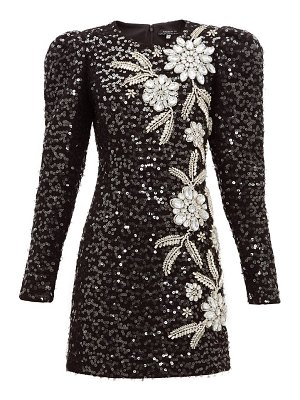 ANDREW GN embellished puff-sleeve tweed mini dress
