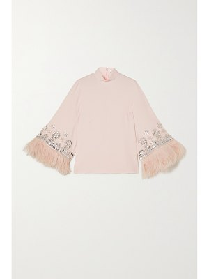 ANDREW GN feather-trimmed crystal-embellished crepe blouse