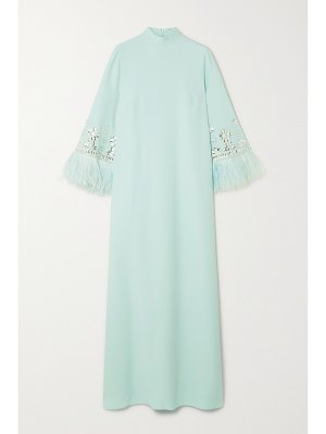 ANDREW GN feather-trimmed crystal-embellished crepe gown
