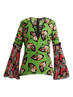 ANDREW GN Flared Sleeve Fan Print Silk Top