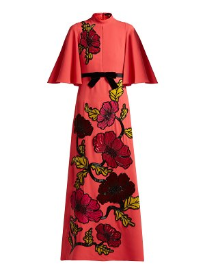 ANDREW GN Floral Embroidered Crepe Gown