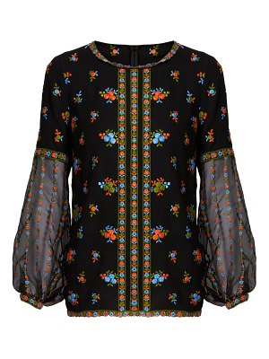 ANDREW GN Floral-embroidered silk-crepe blouse