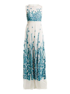 ANDREW GN Floral-embroidered tulle gown